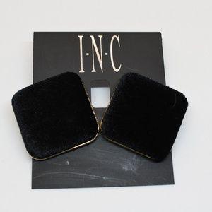 INC Gold Tone Velvet Black Stud Earrings